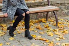 La belle fille douce avec les grands yeux tristes dans le manteau se reposant sur le banc en automne parmi le jaune tombé laisse  photo stock