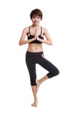 La belle fille en bonne santé asiatique font la pose de yoga Image stock