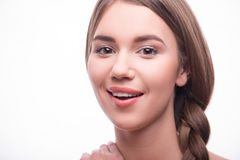La belle fille exprime différentes émotions Image stock