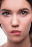 La belle fille exprime différentes émotions Photographie stock