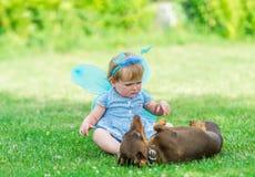 La belle fille féerique joue avec un chien sur l'herbe Images libres de droits