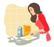 La belle fille fera cuire des pâtisseries Beurre de coupes baking Isolat de vecteur sur un fond blanc illustration stock