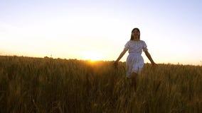 La belle fille ont couru et le smill de fnd de jimp à travers le champ avec du blé d'or dans la lueur et le smill de coucher du s banque de vidéos
