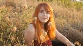 La belle fille rousse s'assied au sol dans un domaine parmi les fleurs sèches et apprécie la nature au coucher du soleil, jeune f banque de vidéos