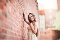 La belle fille sexy avec la longue forme parfaite de cheveux et de robe a bronzé le corps possing près du mur Photo libre de droits