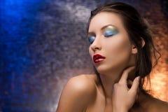 La belle fille sur un fond coloré d'aluminium dans le lig de soirée Photographie stock