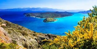 La belle Grèce aménage - la vue en parc de la petite île Spinalonga C Photo libre de droits