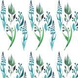 La belle herbe avec le vert part du croquis sans couture de main d'aquarelle de modèle Images stock