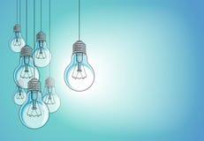 La belle illustration de vecteur d'ampoules avec la simple brillant, concept d'idée, pensent différent, se tiennent hors de la fo illustration libre de droits