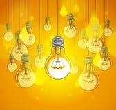 La belle illustration de vecteur d'ampoules avec la simple brillant, concept d'idée, pensent différent, se tiennent hors de la fo illustration de vecteur