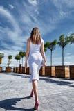 La belle jeune brune de femme sexy s'est habillée dans le fashionab élégant Photo stock