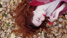 La belle jeune femme avec des mensonges rouges de cheveux au-dessus des feuilles sèches tient une cendre de montagne dans la forê Photos libres de droits