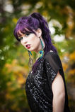 Belle jeune femme dans le maquillage de paon Photo libre de droits