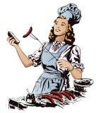La belle jeune femme prépare un barbecue Les gens dans rétro illustration stock