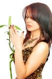 La belle jeune fille explore un bambou images libres de droits