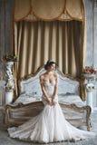 La belle jeune jeune mariée, la fille sexy de modèle de brune dans la robe de mariage élégante et à la mode avec les épaules nues images libres de droits