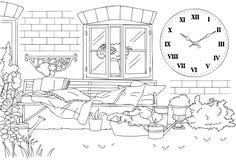 La belle ligne anglaise Art Vector Illustration de jardin de vintage Photos libres de droits