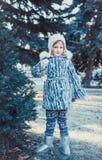 La belle petite fille en bois d'hiver La fille est habillée dans un manteau de fourrure gris Elle tient une boule de Noël blanc images libres de droits
