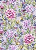 La belle pivoine fleurit avec des bourgeons et des feuilles dans les lignes droites sur le fond gris-clair Configuration florale  illustration de vecteur