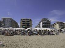 La belle plage de Jesolo en Vénétie Images stock