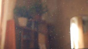La belle poussière dans la chambre contre la fenêtre Rayons légers Mouvement lent Plan rapproché banque de vidéos