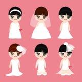 La belle robe de conception de jeune mariée a placé sur le fond rose, vecteur Photo stock