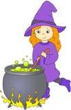La belle sorcière amicale avec les cheveux rouges brasse un breuvage magique dans un chaudron illustration de vecteur