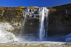 La belle splendeur de la cascade congelée de Seljalandsfoss, Islande Images stock