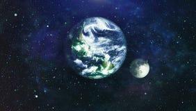 La belle terre et la lune - éléments de cette image meublés par la NASA Photographie stock