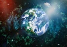 La belle terre et la lune - éléments de cette image meublés par la NASA Photos libres de droits