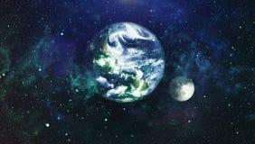 La belle terre et la lune - éléments de cette image meublés par la NASA Image libre de droits