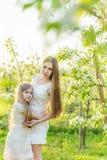 La belles mère et fille dans une floraison font du jardinage au printemps Images libres de droits