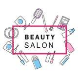 la belleza compone iconos del cartel y los colorea ilustración del vector