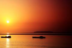 La belleza de la escena de la puesta del sol en el lago Dongting Fotos de archivo