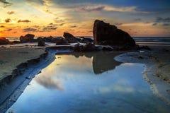 La belleza de la playa de Kiamsam es incomparable, la isla de Labuan Imagenes de archivo