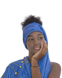 La belleza joven del Afro se vistió para una celebración, aislado Fotografía de archivo libre de regalías