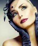 La belleza Portrait.Vintage labró maquillaje Imagen de archivo libre de regalías
