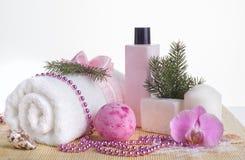 La belleza relajante fijó con la toalla, el jabón y el gel lujosos de la ducha Imagen de archivo libre de regalías