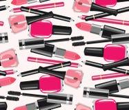La bellezza compone il modello senza cuciture dei cosmetici di modo Fotografia Stock