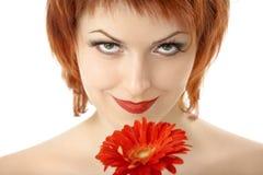 La bellezza con il gerbera Fotografie Stock Libere da Diritti