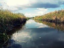La bellezza del canale idrico sulla palude Fotografia Stock