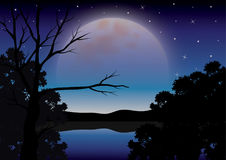 La bellezza della luna in natura, illustrazioni di vettore abbellisce Immagini Stock