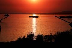 La bellezza della scena di tramonto nel lago Dongting Fotografie Stock Libere da Diritti