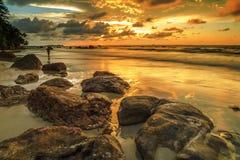 La bellezza della spiaggia di Kiamsam è ineguagliabile, l'isola di Labuan Immagini Stock