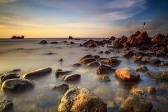 La bellezza della spiaggia di Kiamsam è ineguagliabile, l'isola di Labuan Fotografia Stock