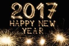 La bengala de la fuente del Año Nuevo numera en fondo negro Imagen de archivo libre de regalías