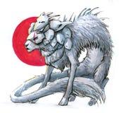 La bestia de la fantasía le gusta un gato o de un perro ilustración del vector
