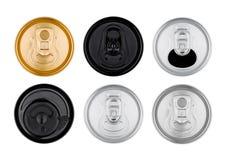 La bevanda di alluminio della soda inscatola la vista superiore isolata Immagine Stock