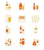 La bevanda imbottiglia le icone rosso-arancioni Fotografia Stock