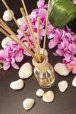 La bevanda rinfrescante di aria attacca a casa con i fiori ed il ou del backgr del fuoco Fotografia Stock